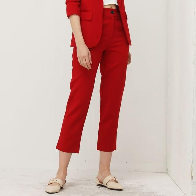 Bella Philosohy Autumn Fashion Red Blazer Suit Women OL Puff Sleeve Workwear Blazer Coat No Button Three Quarter Ladies Outwears