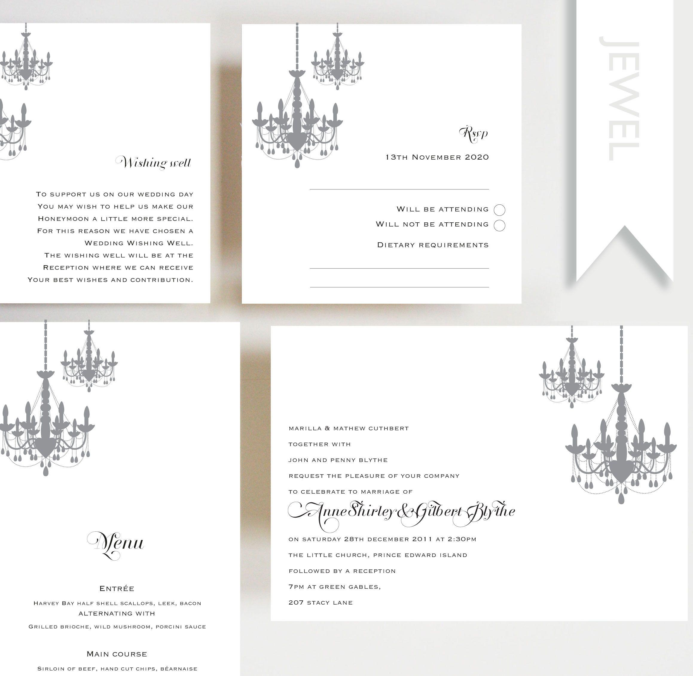 Debenhams Wedding Service Gift List Number: Jewel Invitation, Menu, RSVP Card, Wishing Well, Wedding
