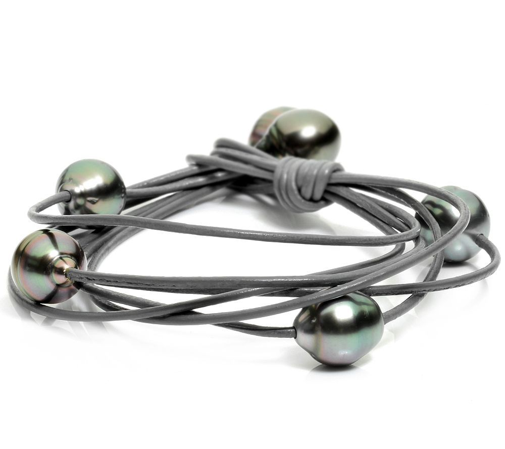 PERLFEKT Tahitian pearls from 9 to 9.9 mm leather strap - QVC.de