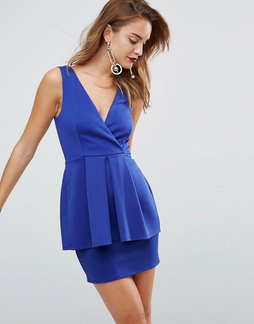 a11ace1c88 ASOS Scuba Deep Plunge Peplum Mini Dress - Blue