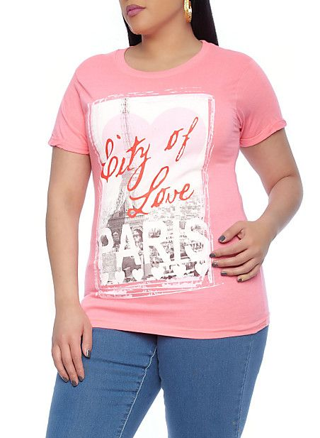 Rainbow Shops Plus-Size Graphic Paris Love Tee  7.99 bcd54b347