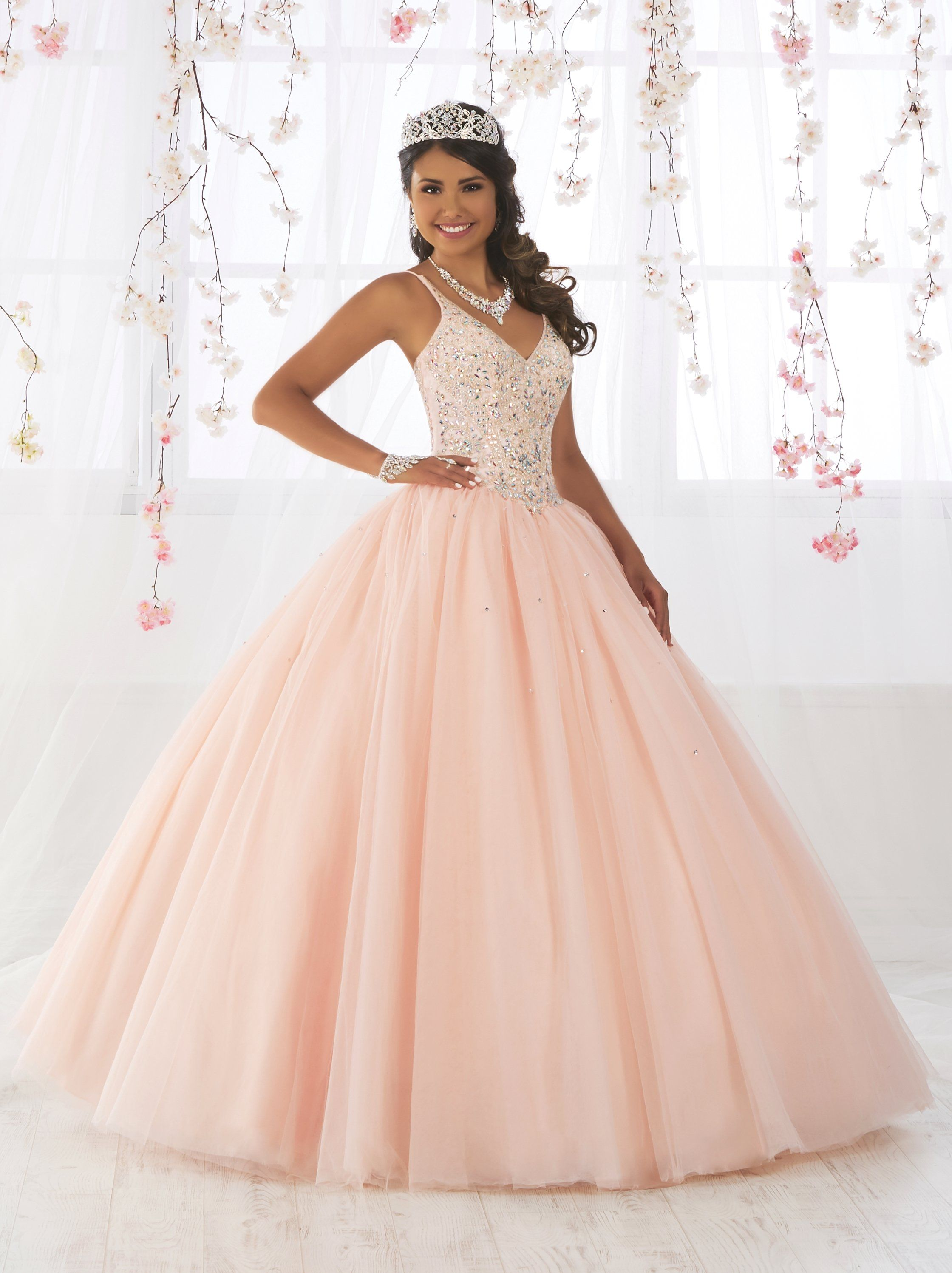 dcf05dc566 Sleeveless V-Neck Quinceanera Dress by Fiesta Gowns 56371 in 2019 ...
