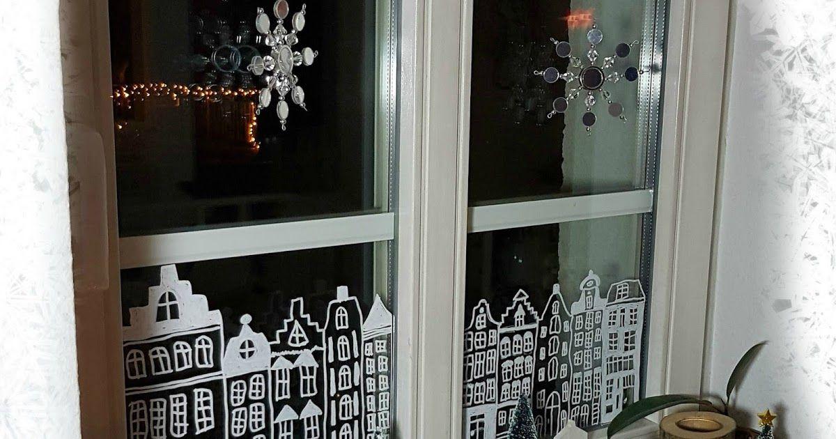 Fenster, Dekoration, Winter, Weihnachten, Kreidestift