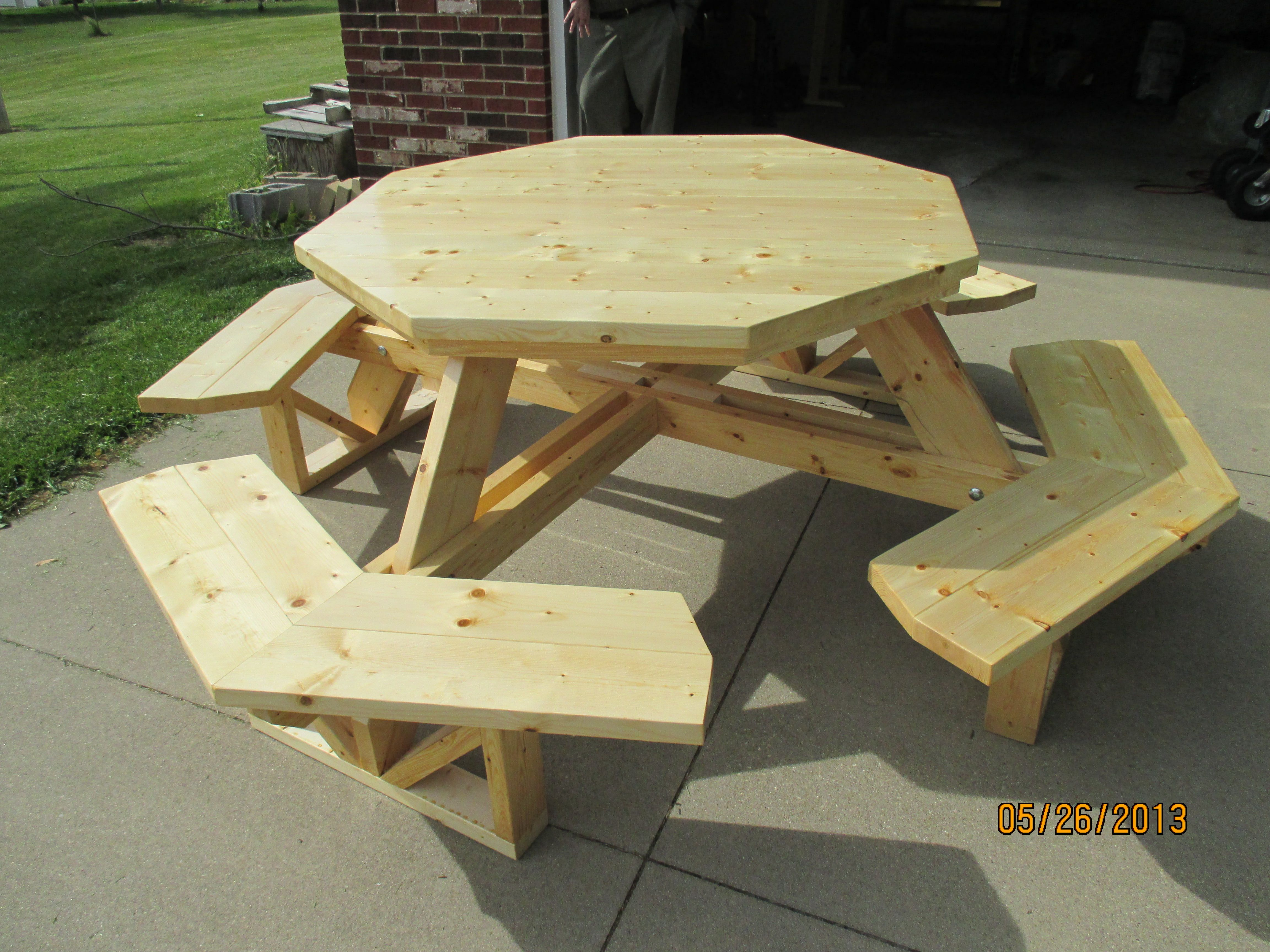 Pine Picnic Table That Seats I Made This For My Parents - Picnic table seats 8