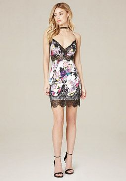 966db5a9418e bebe Pia Print Silk Slip Dress