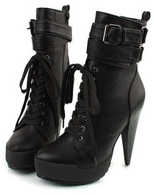 b2e6673c2ed Spike high heel leather lace-up boots #black | Killer Heels: Boots ...