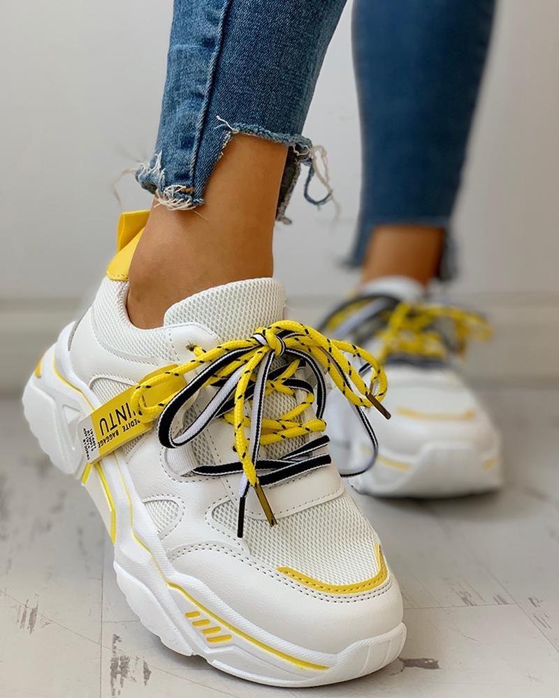 hot Womens ventilate Lace Hidden Wedge Heel Slip On Platform Sneakers Shoes