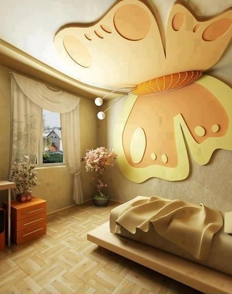 Kids Room False Ceiling Design: Beautiful Butterfly Decor Bedroom Via- Lepi Enterijeri