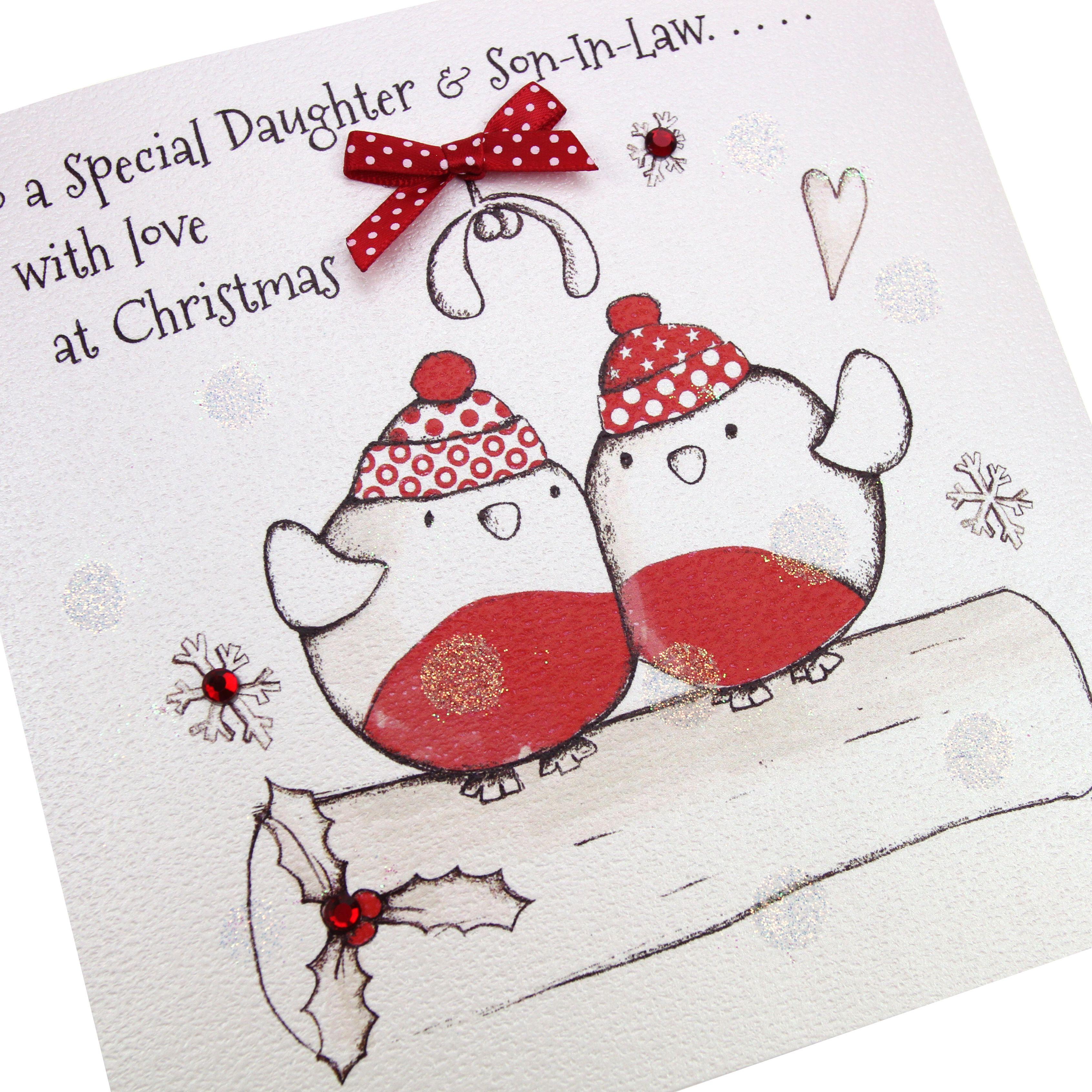 Handmade Christmas Card Cute Robins Hand Applied Gold Glitter Red ...