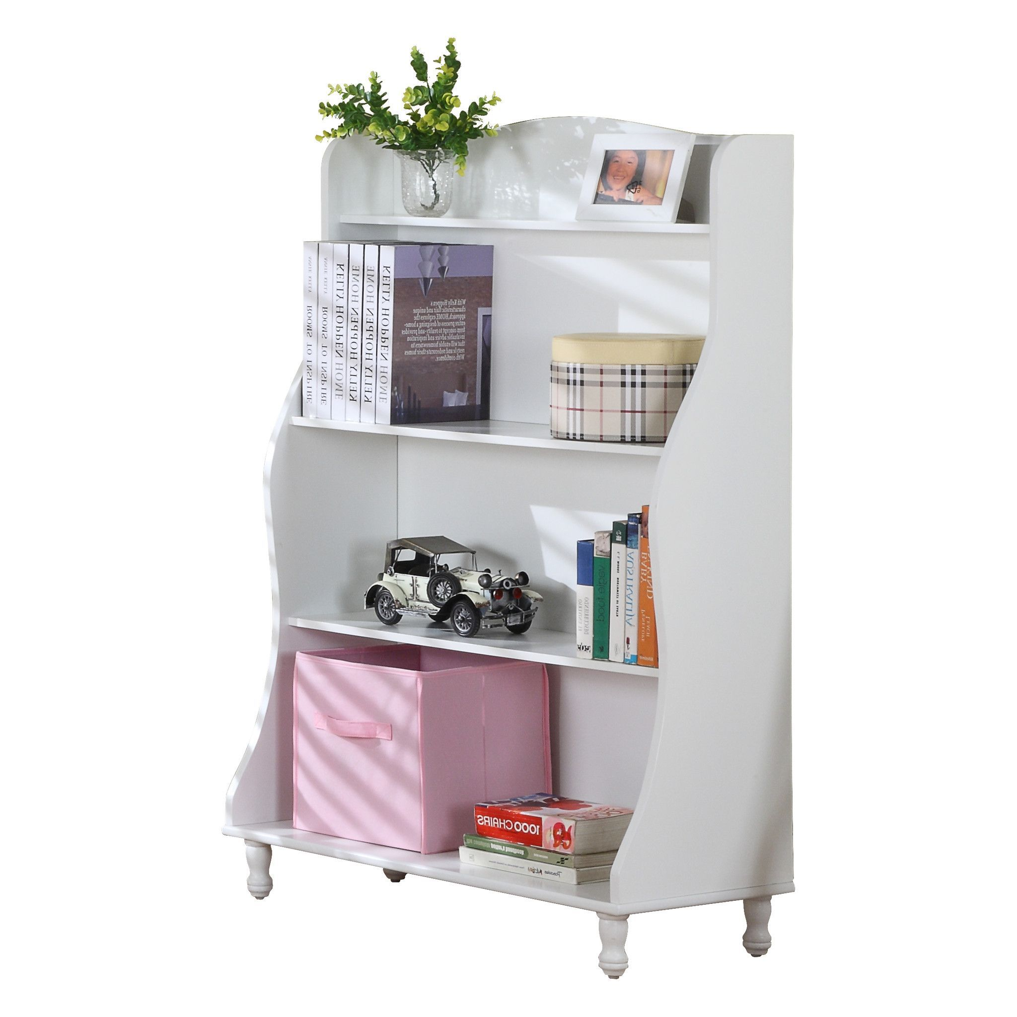 Pilaster Designs - Wood 3-Tier Tall Bookcase, White Finish