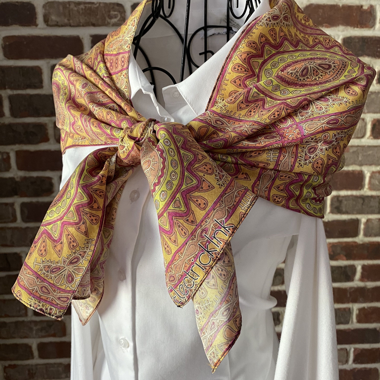 Sunburst Silk Scarf Burnt Orange Indian Sun Print Women S Etsy In 2020 Wearable Art Scarf Silk Twill Scarf Silk Twill