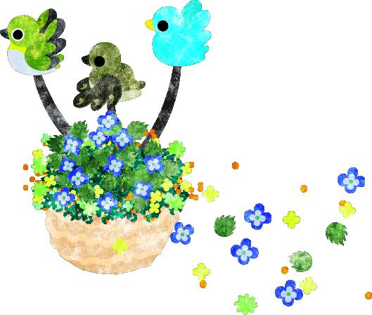 春のフリーのイラスト素材空に舞う花 小鳥と花かご Free