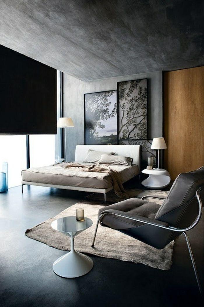 jolie chambre a coucher avec plan de travail gris anthracite