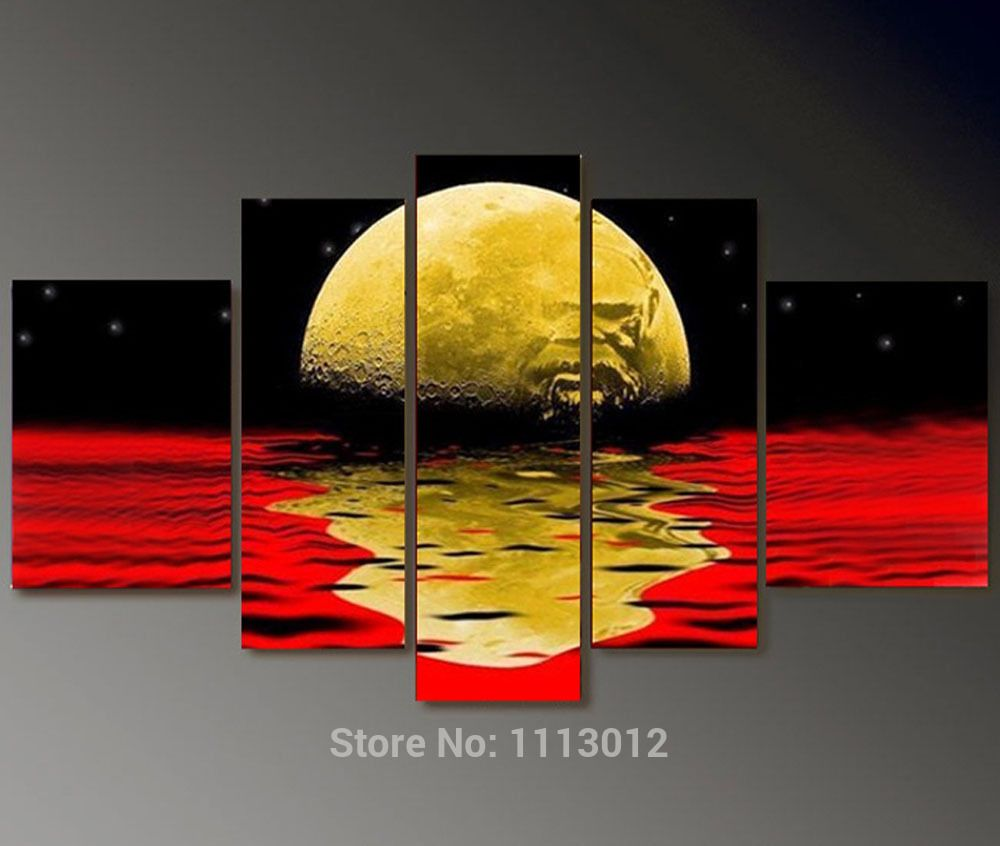 High Quality Abstract Red Black Moon Star Oil Painting On Canvas 5 ...