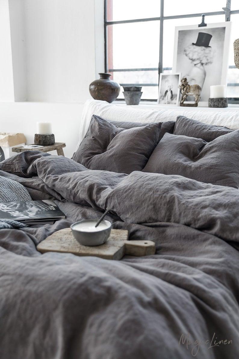 Linen Bedding Set In Charcoal Gray Dark Gray Color King Queen
