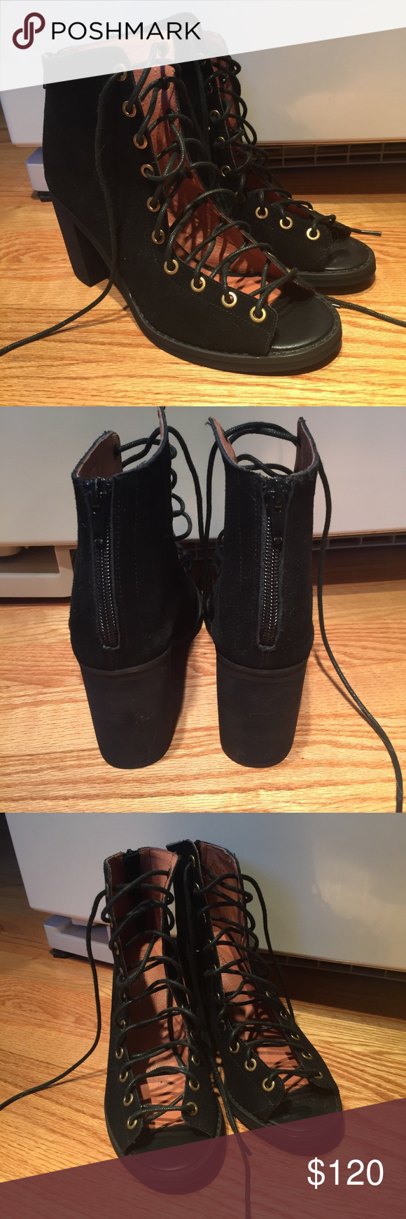Jeffrey Campbell lace up heels Jeffrey Campbell black suede heels with zipper at back, in perfect condition, never worn! Jeffrey Campbell Shoes Heels