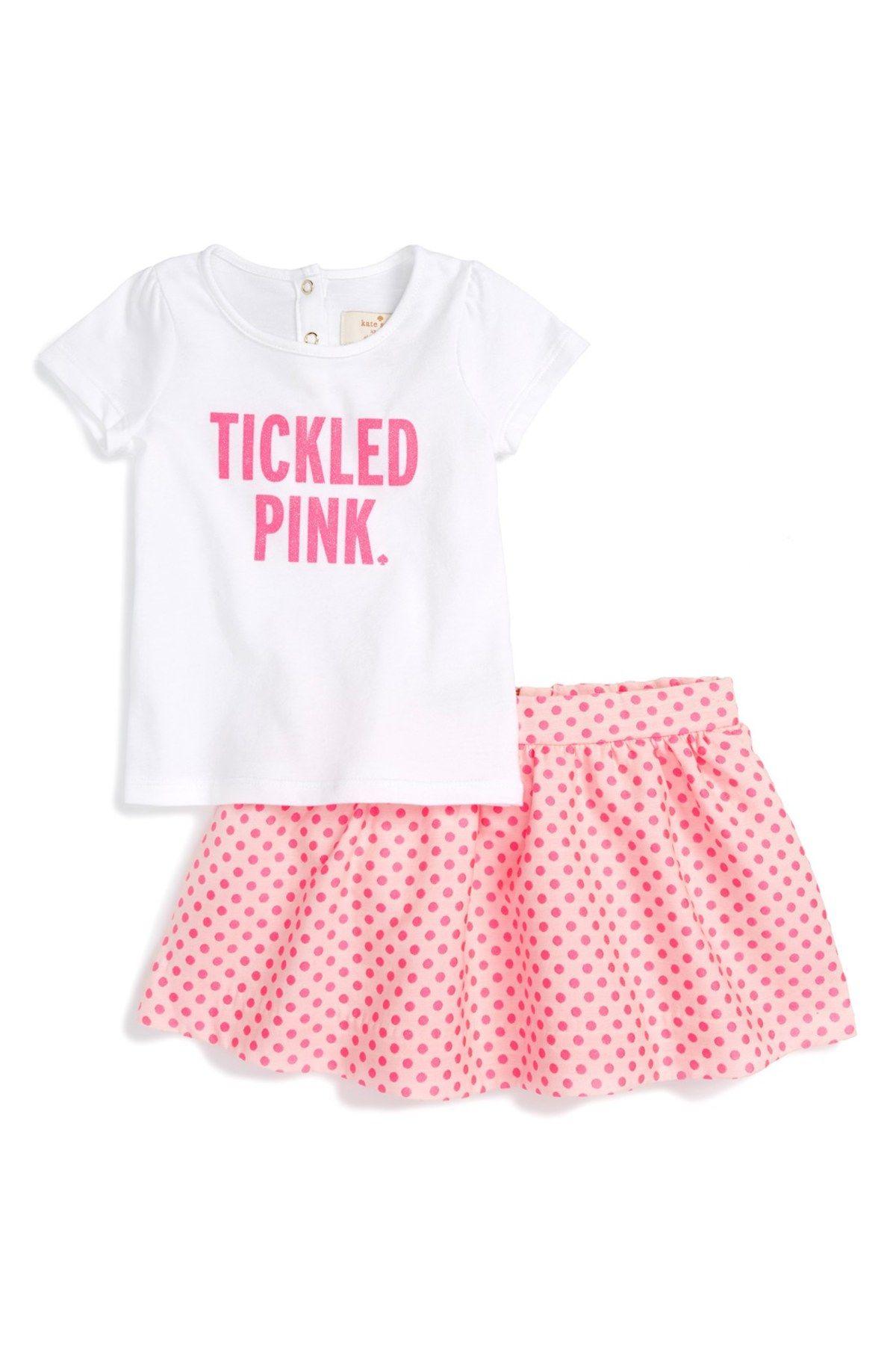 Kate Spade tickled pink tee & skirt set Baby Girls