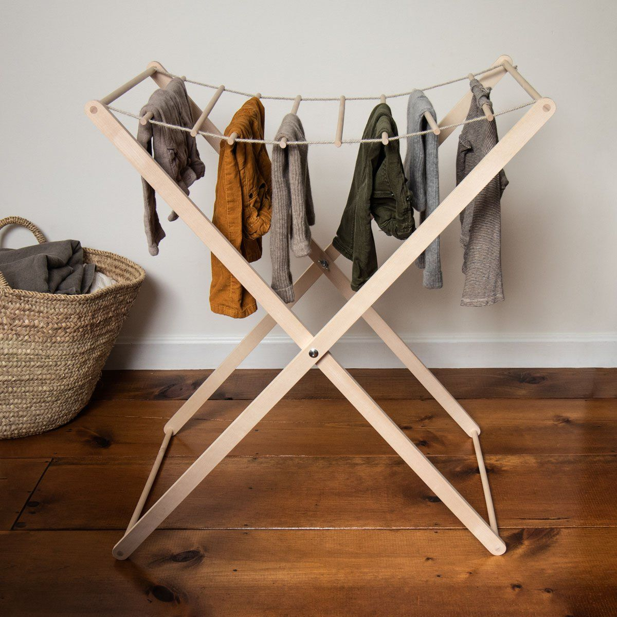This Folding Birch Clothes Rack From Iris Hantverk Is The All Natural Aesthetically Pleasing Answe Clothes Drying Racks Diy Laundry Room Storage Clothing Rack