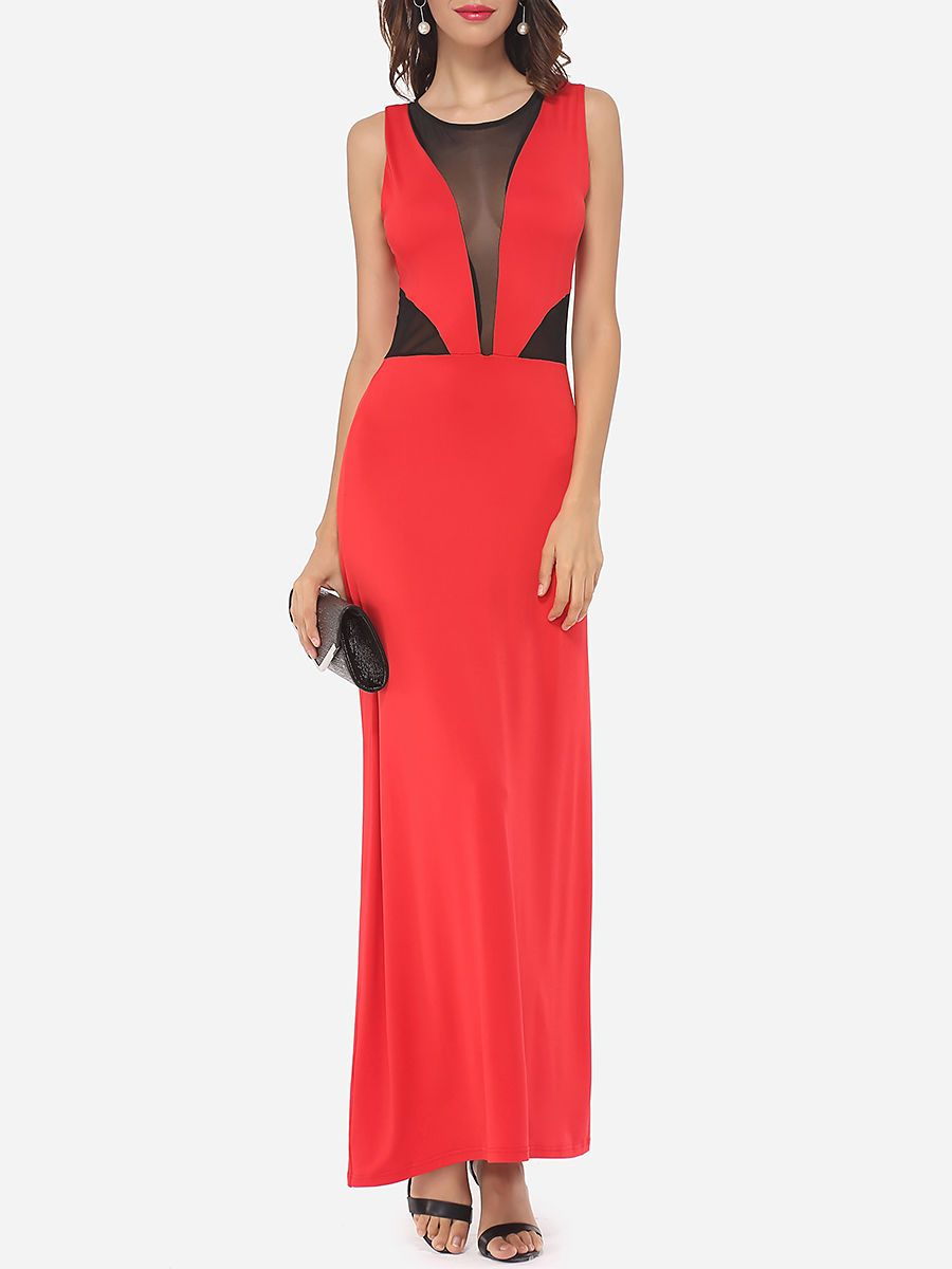 Hollow out patchwork celebrity round neck promdress dresses