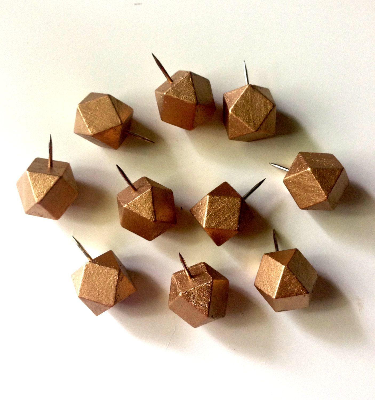 Gold geometric pins, round, cubicle decor, pin, thumb tacks ...
