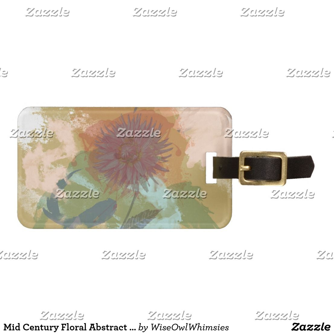 Mid Century Floral Abstract Blush Mint Green Gold Luggage Tag