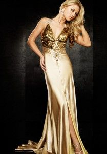 d8512fde4 Vestidos dorados elegantes y largos