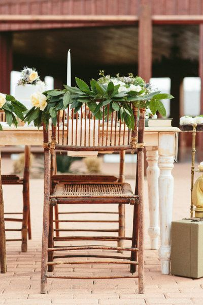 Elegant chair decor | Design by Sweet August Events, Photography by Rachael Hall | Style Me Pretty Living