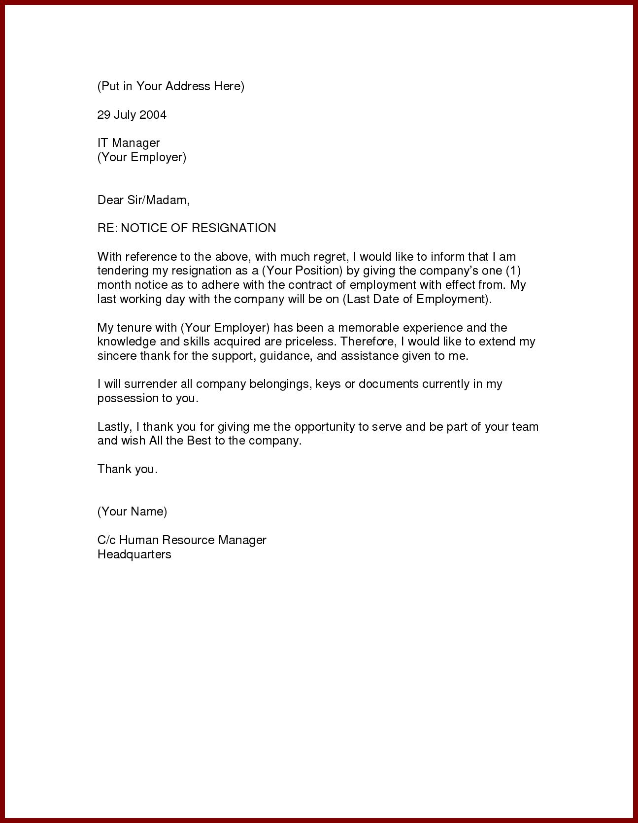 Image result for formal resignation letter 1 month notice   K ...