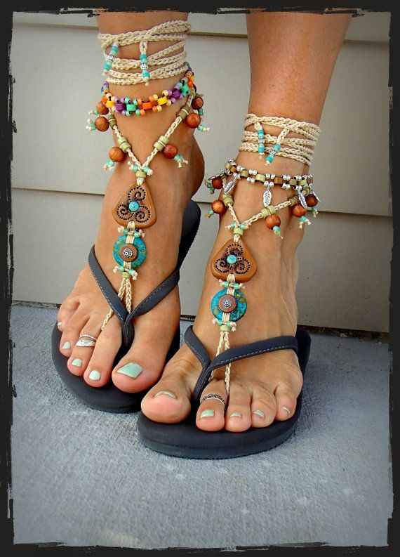 Foot Sandals Crochet Turquoise Triskele Stone Artisan Barefoot odCxeWrB