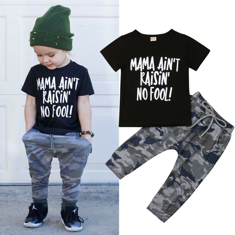 2PCS Toddler Baby Kids Boy T-shirt Tops+Long Pants Casual Outfits Clothes Set US