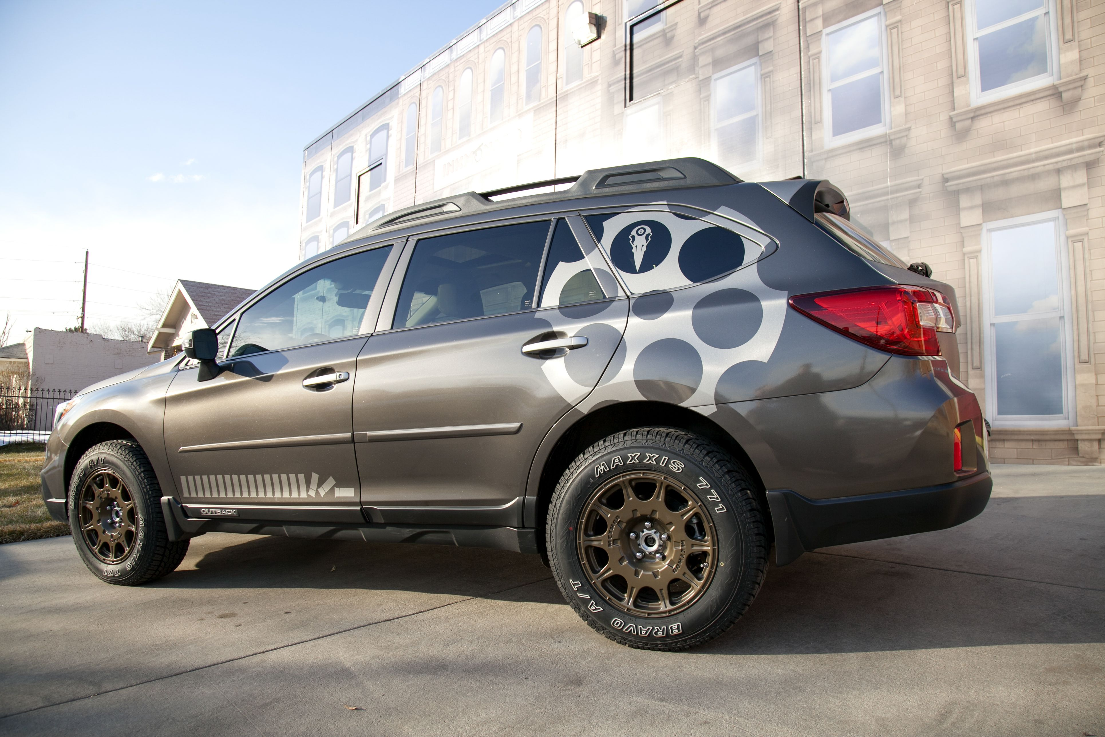 we spruced up this subaru outback for a customer last week with a complete gunmetal vinyl wrap. Black Bedroom Furniture Sets. Home Design Ideas