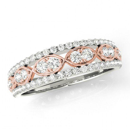 14k Two Tone Diamond Infinity Wedding Band | Pink ring ...