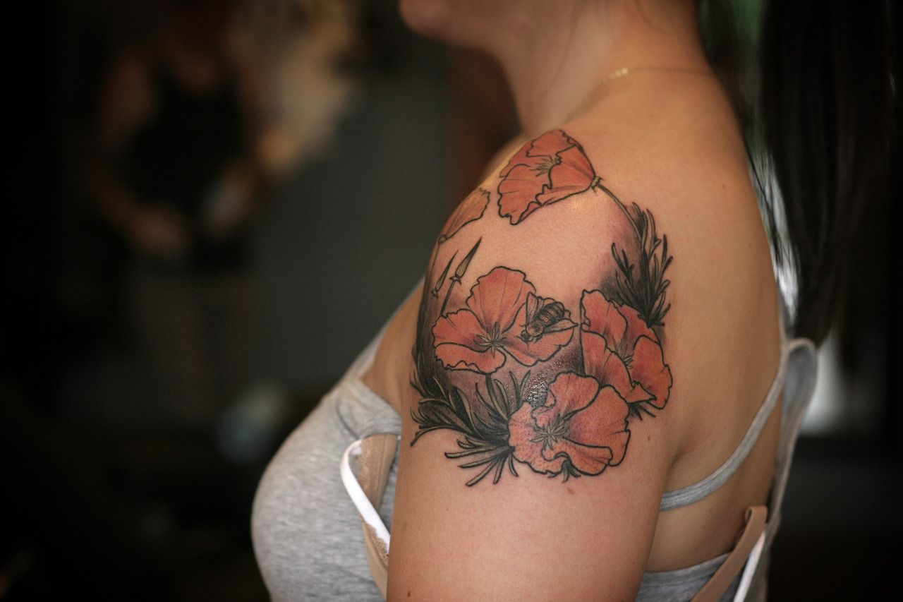 644497c82 Alice Carrier   California poppies and a honey bee   Tattoos I Like ...