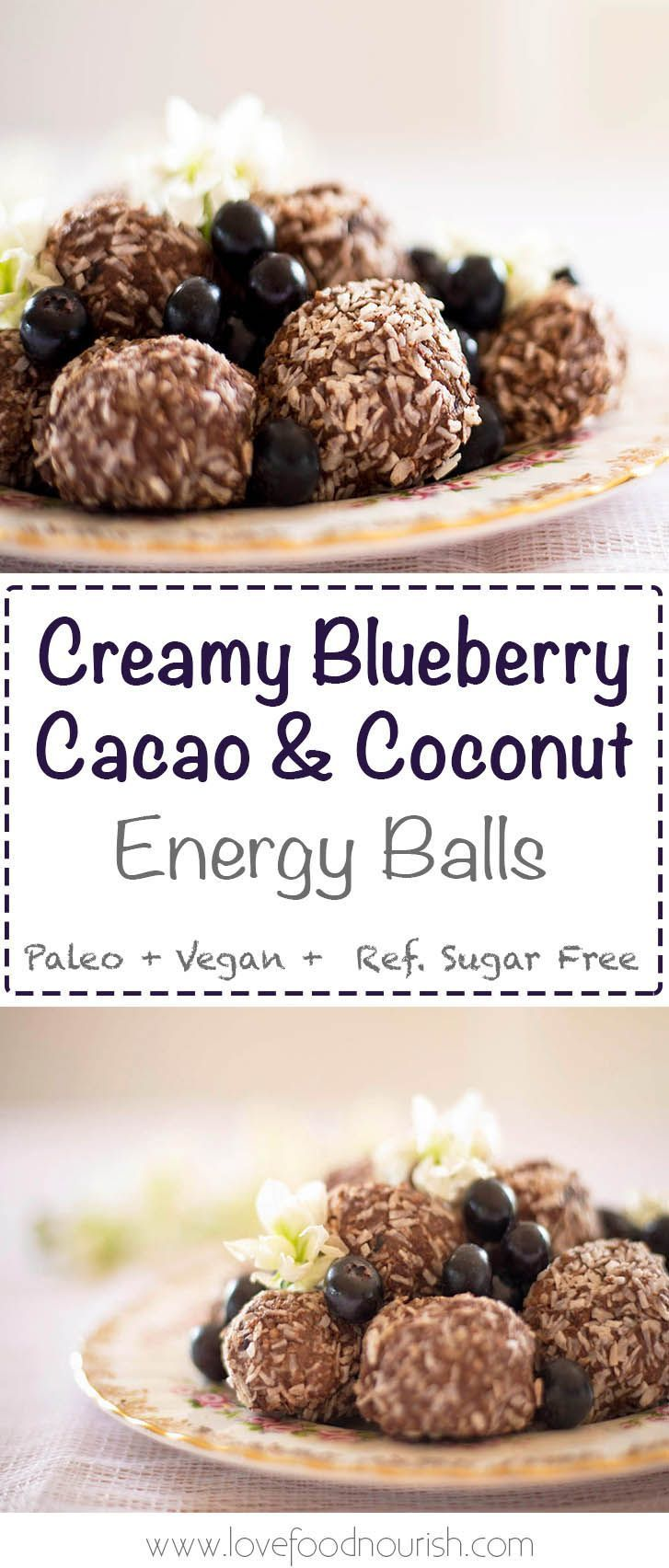 Creamy Blueberry Bliss Balls with Cacao & Coconut - A healthy and delicious sweet treat that will give you a burst of energy. #blissballs #paleo #glutenfree #dairyfree #paleosnack #energyballs #blueberries #healthysnacks #paleosnacks #glutenfreesnacks #vegan
