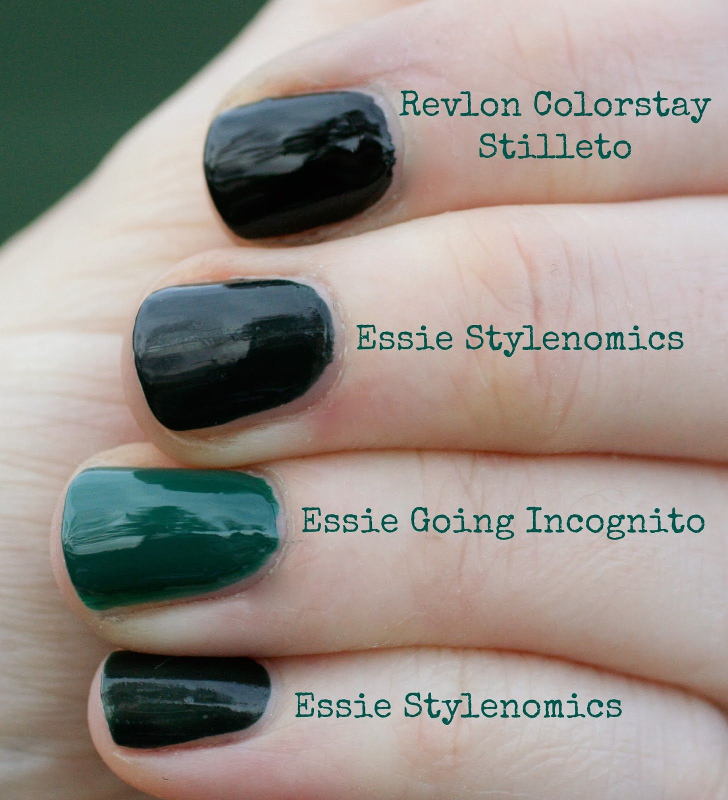 Comparison of Essie Stylenomics next to black and next to emerald ...
