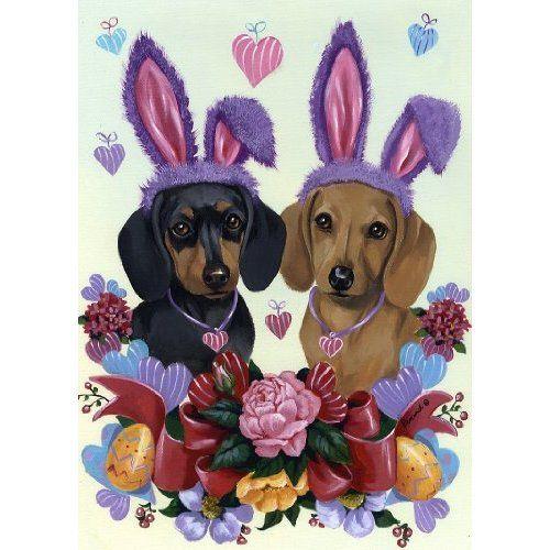 Amazon Com Dachshund Bunnies Dogs Spring Garden Flag Everything