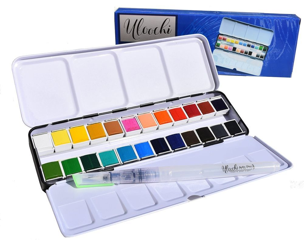 Watercolor Art Paint Set Portable 24 Painting Kit Premium Half