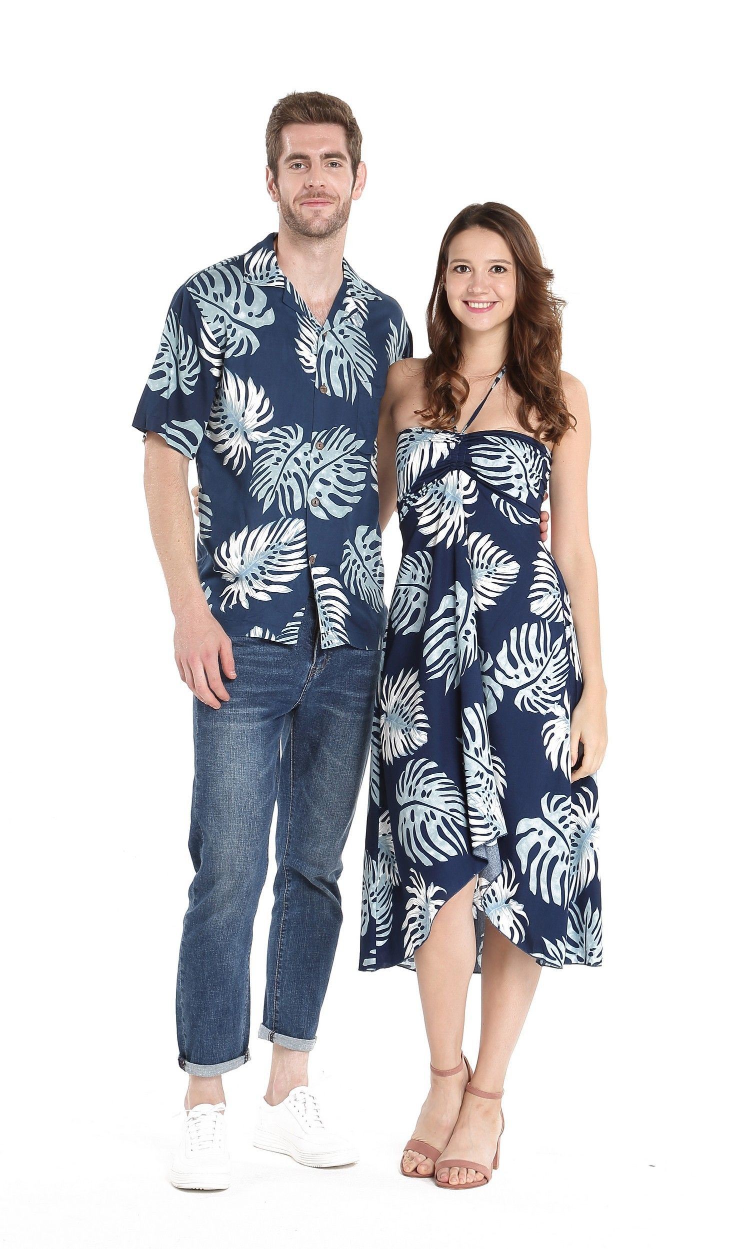 Palm Leaves Navy Couple Aloha Set In 2020