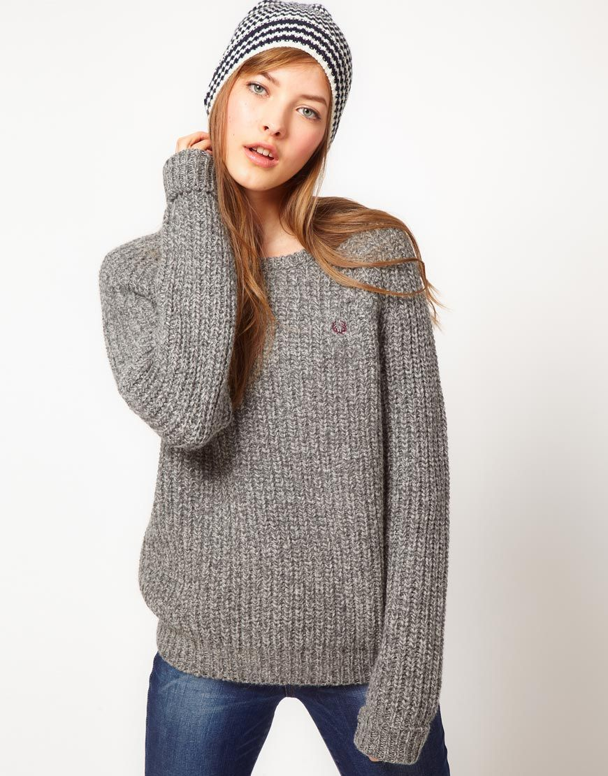Fred Perry Chunky Knit Boyfriend Sweater | Love | Pinterest | Fred ...