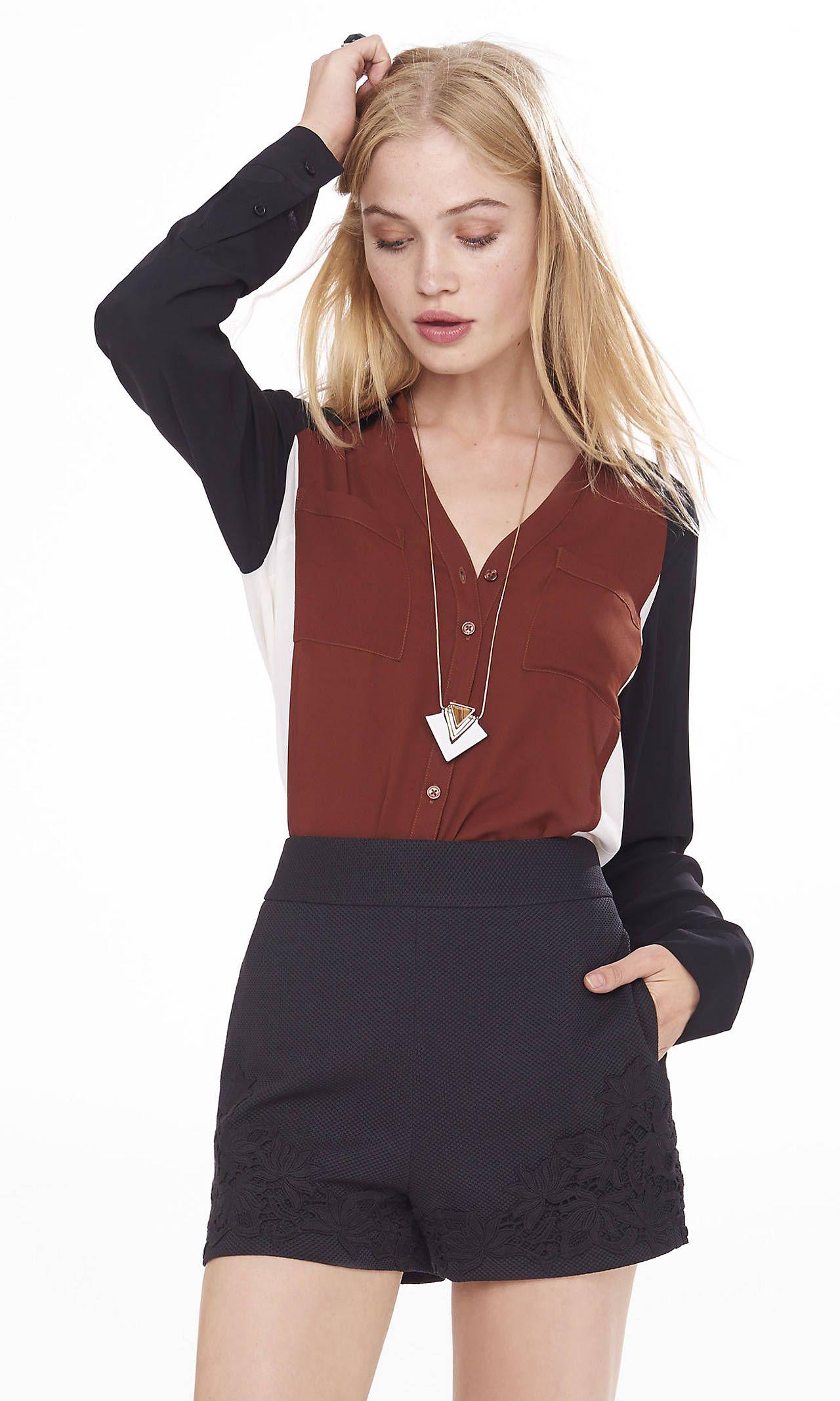 55860de808f27 Original Fit Color Block Portofino Shirt from EXPRESS