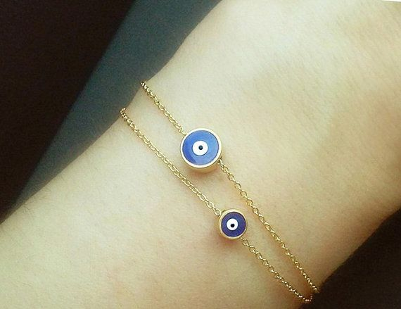 Gift for Her Bridesmaid Gift Luck Charm Bracelet Double Chain Sterling Silver Evil Eye Bracelet Many Evil Eyes Bracelet,Nazar Bracelet