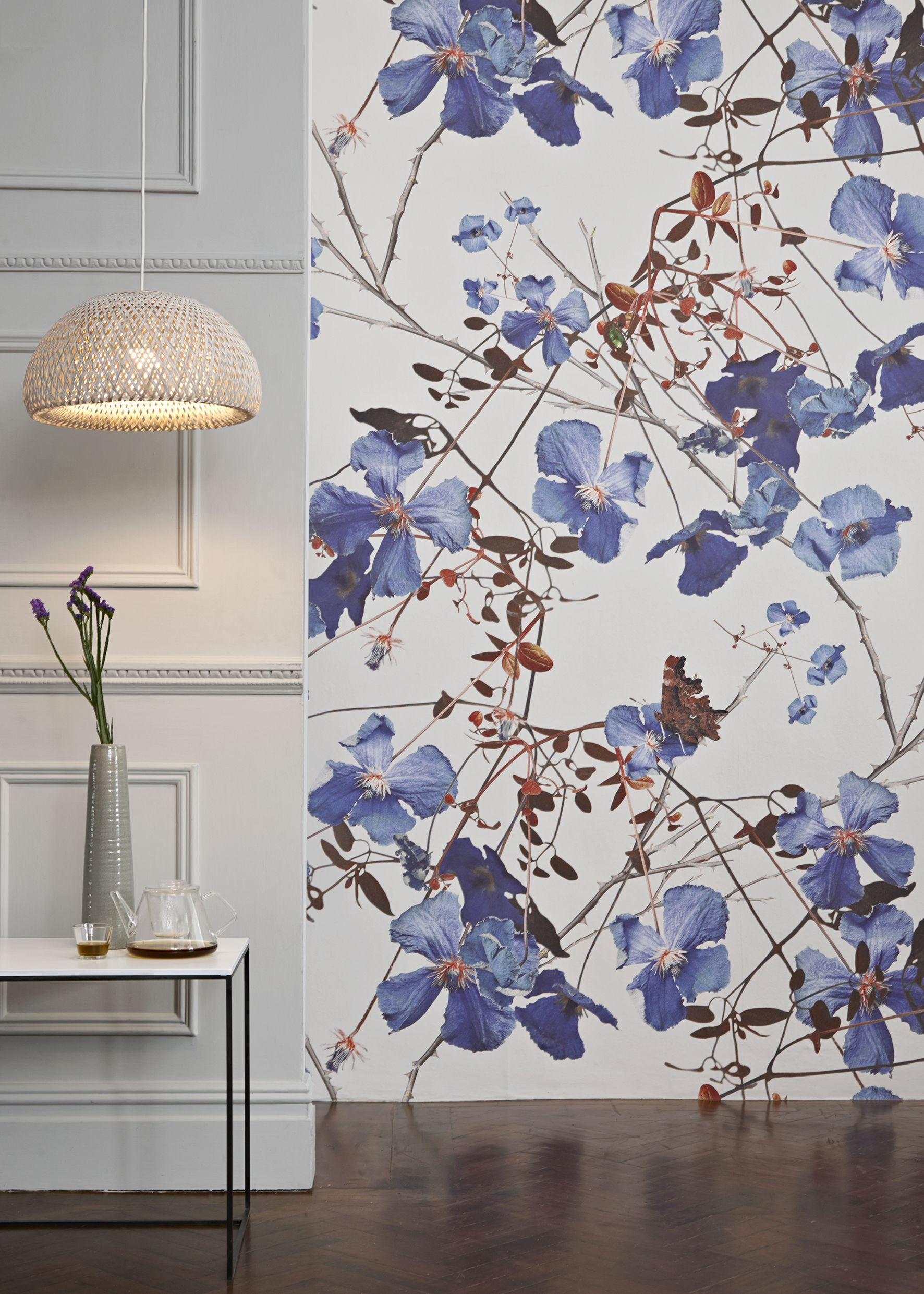 Clematis Powder Blue Mural Michael Angove Collection From 65 Per Sq M Shop Canvases Wall Murals At Surfaceview Co Uk
