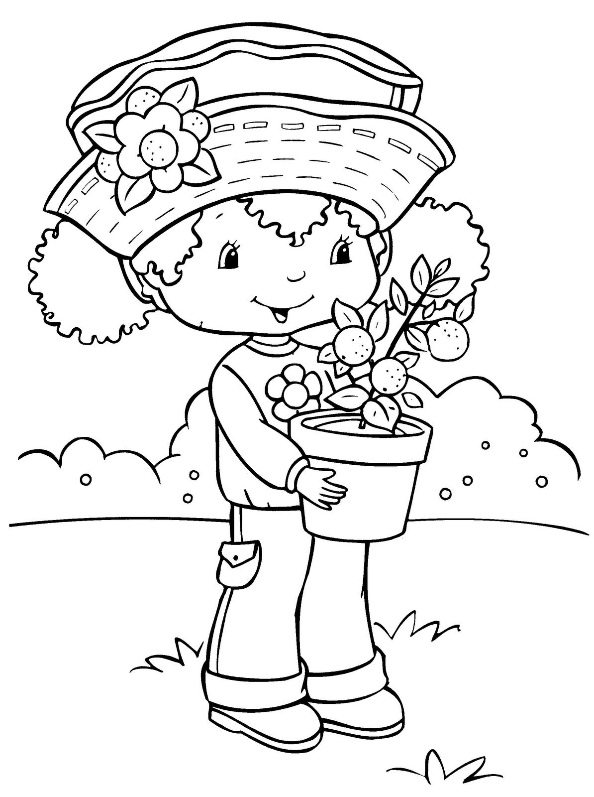 Dibujos para colorear Mueca Tarta de fresa con maceta para