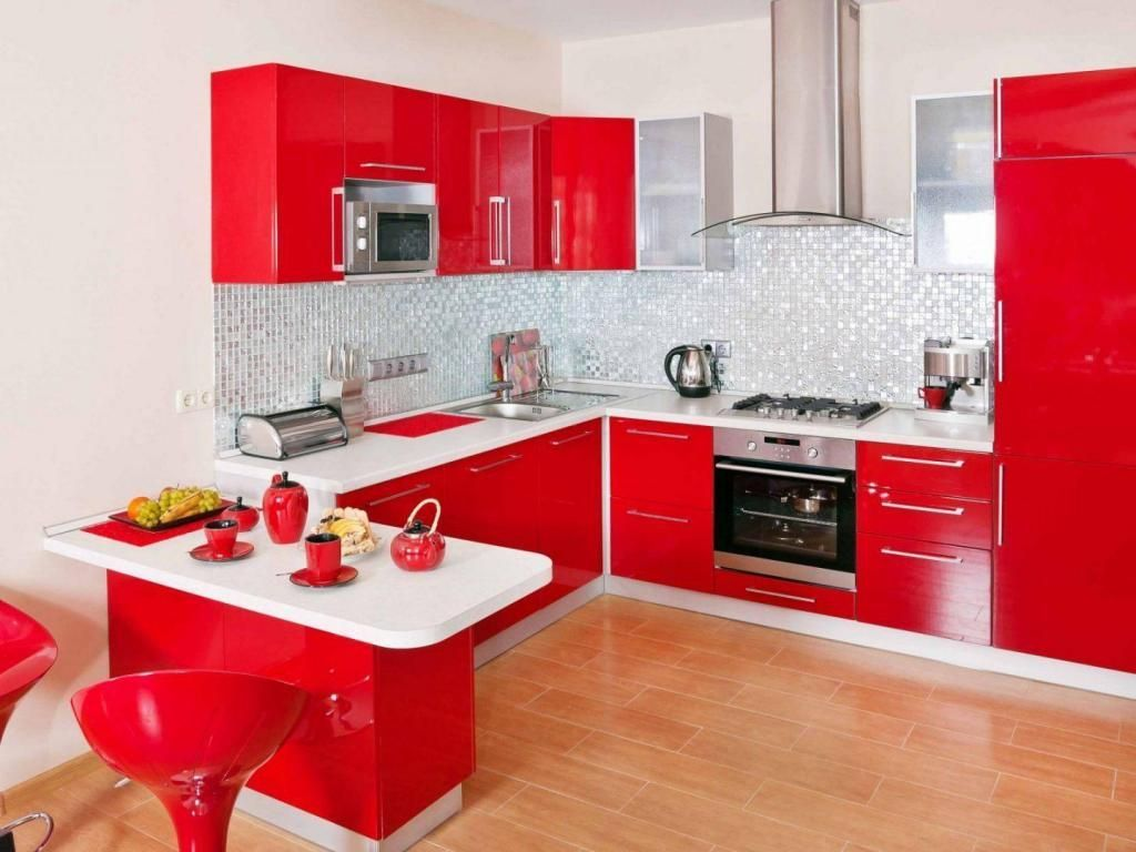 Http Www Gopret Com Wp Content Uploads 2014 10 Small Kitchen Design With Red White Cabinet S Trendy Kitchen Backsplash Red Kitchen Walls Kitchen Design Small