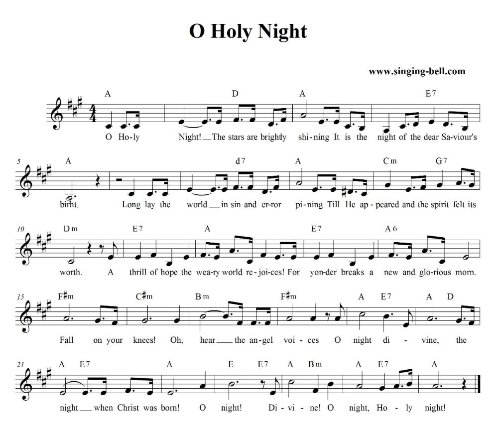 Christmas Carol Sheet Music Holy night lyrics, Sheet music