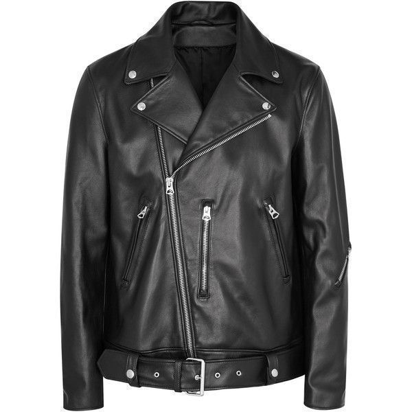Acne Studios Nate Black Leather Jacket (£1,330) ❤ liked on Polyvore  featuring men's fashion, men's clothing, men's outerwear, men's jackets, ...
