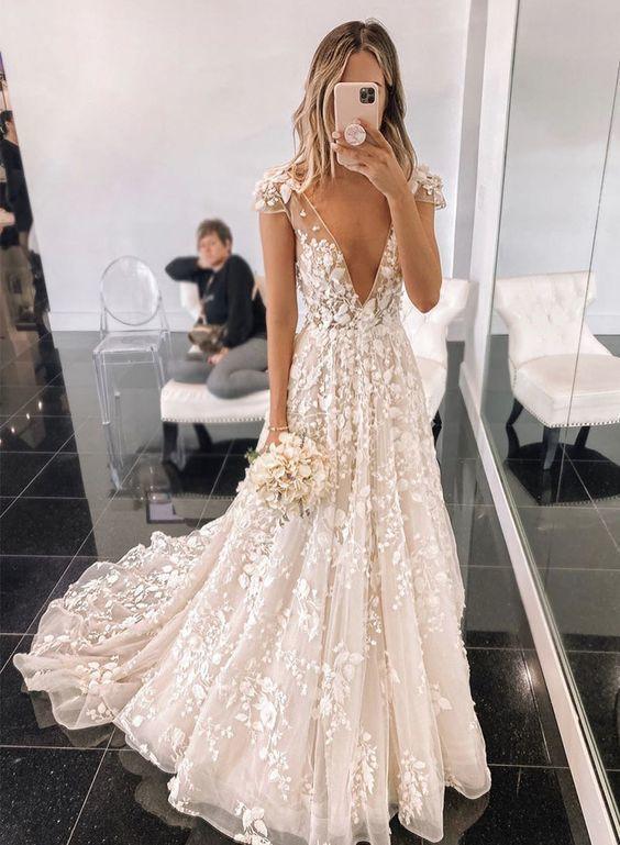 Stylish v neck tulle applique long prom dress ML4356 - #weddingdress Source by dorismgk -