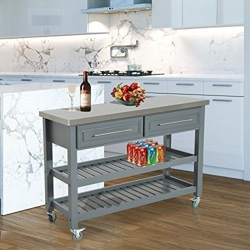 Homcom Country Style Kitchen Island Rustic Rolling Storage Cart On Wheels With Stainless Steel Top Grey