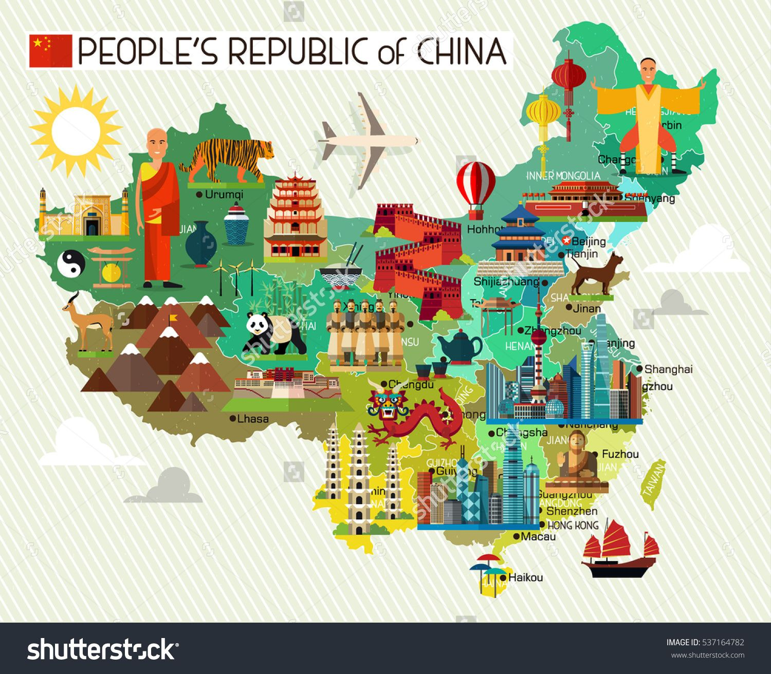 Map Of China And Travel Icons China Travel Map Vector