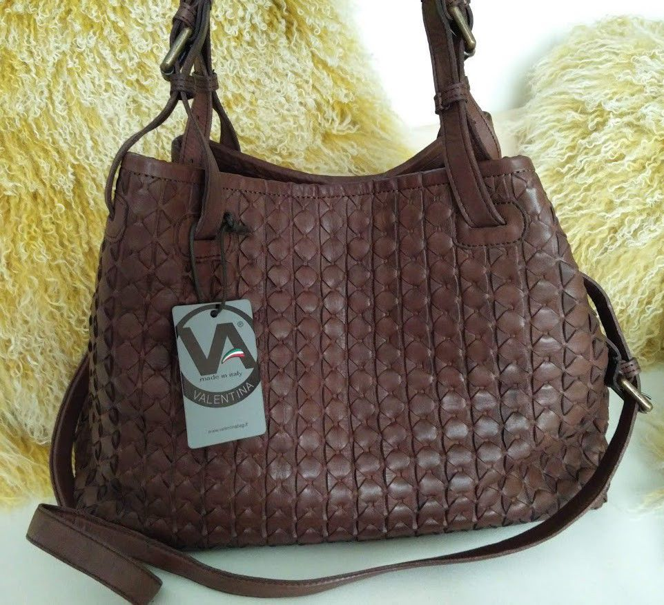 Valentina Leather Tote Woven Brown Cognac Handbag Crossbody